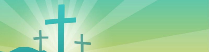 three crosses on green pattern