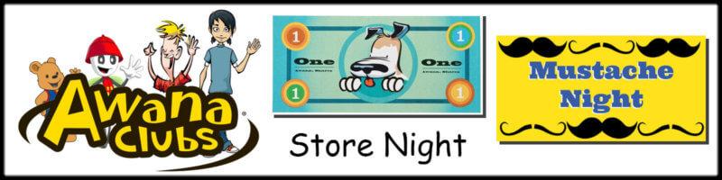 AWANA Store & Mustache Theme Night Banner